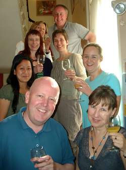 NLP Practitioner Course participants celebrating at the end of the course