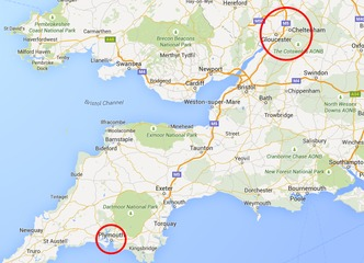 Map showing NLP course venues in Gloucestershire, Worcestershire and Devon.