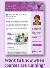 Subscribe to my Integral NLP newsletter for updates and special offers.